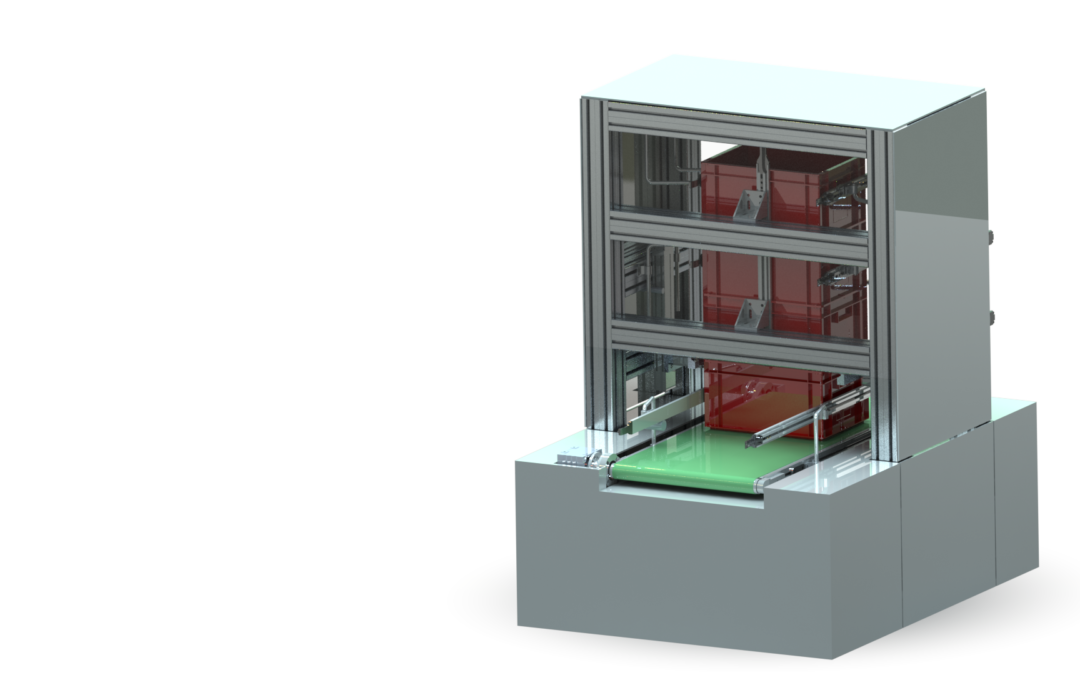 Case stacker with linear motors by Schneider Electric
